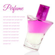Pink perfume with sample text