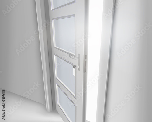 Open door. Vector illustration.