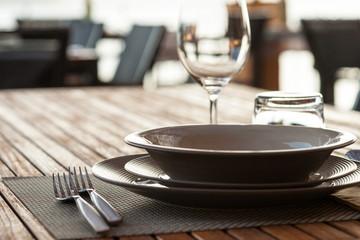 Ethnic tableware in a restaurant
