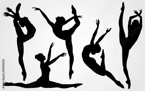 Black silhouettes of a ballerina - 52976576