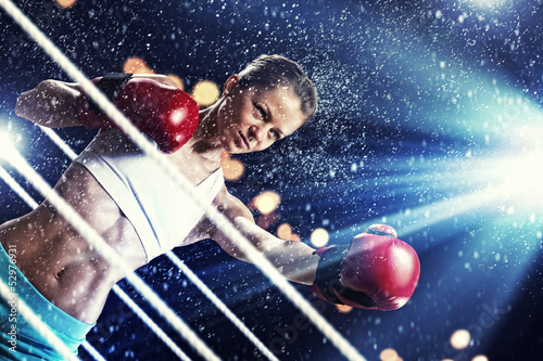 Young boxer woman