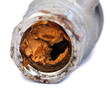 Leinwanddruck Bild - Broken & Rust Blocked Pipe