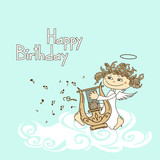 Card for birthday with cupid playing the lyre