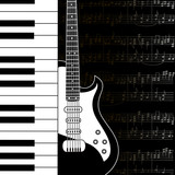 Music background with keyboard, guitar and stave notes
