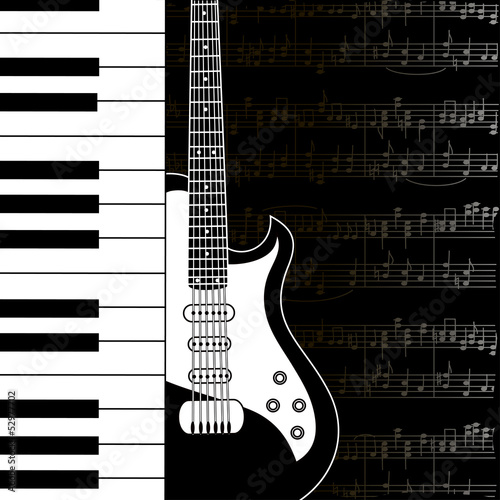 Music background with keyboard, guitar and stave notes © Annykos