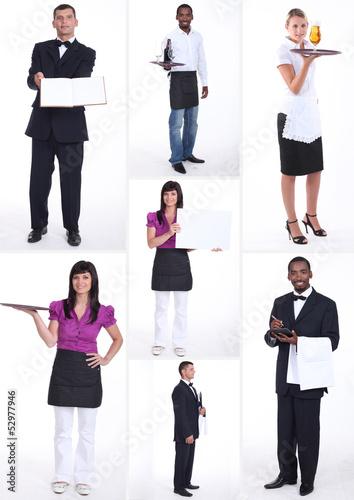 shots of male and female workers in food and catering sector