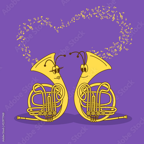 Illustration with snail trumpets