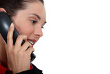 good-looking woman on the phone