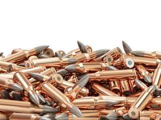 Heap of Rifle Bullets isolated on white background