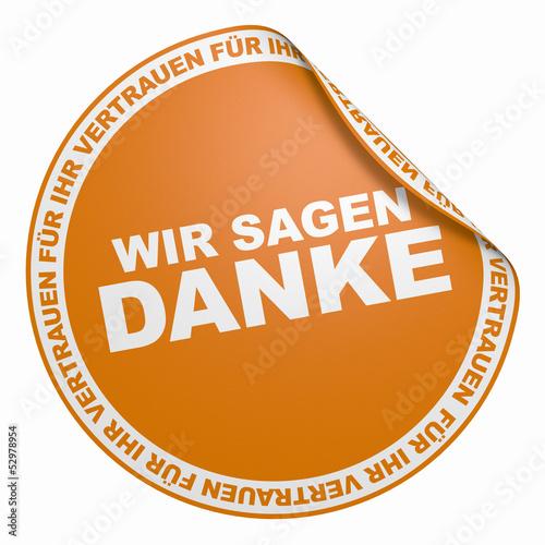 3D Aufkleber Orange - Wir sagen Danke für Ihr Vertrauen