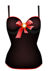 seductive vintage corset with red ribbon