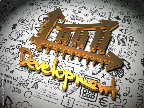 Development Background with Handwritten Characters.