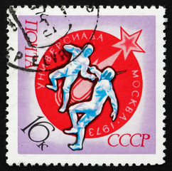 Postage stamp Russia 1973 Fencing, Universiad, Moscow, 1973