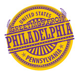 Stamp with text Greetings from Philadelphia, Pennsylvania