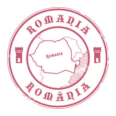 Grunge rubber stamp with the name and map of Romania, vector