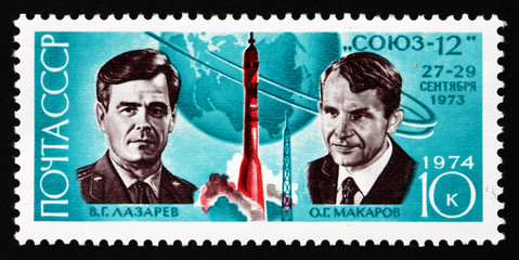 Postage stamp Russia 1974 Cosmonauts Lazarev and Makarov