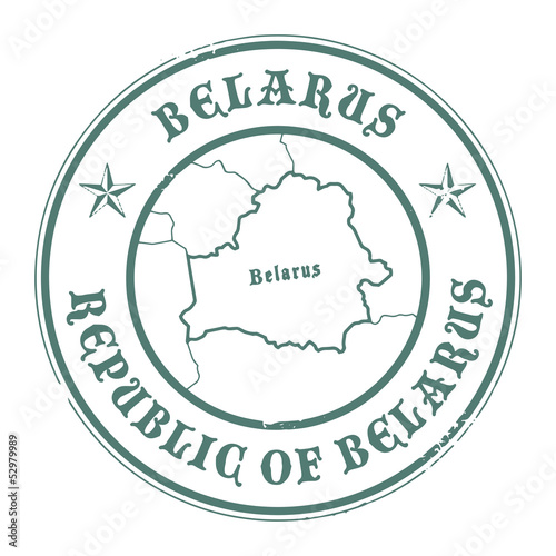 Grunge rubber stamp with the name and map of Belarus, vector
