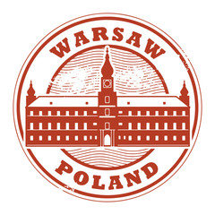 Grunge rubber stamp with words Warsaw, Poland inside, vector