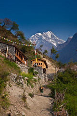 Hiker in Himalayan village