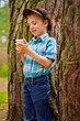 Young kid with phone