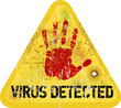 computer virus warning sign, vector