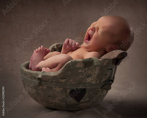 Baby in Army Helmet