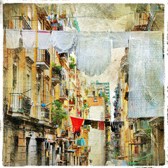 Napoli - traditional old italian streets, artistic picture in pa