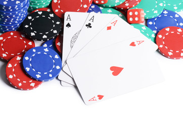 Four ases and casino chips