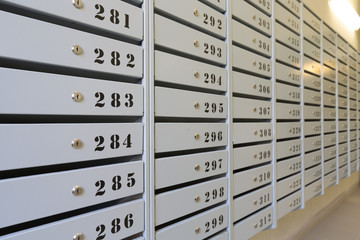 Mailboxes in apartment buildings