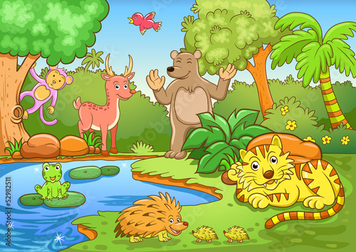 animals in forest.