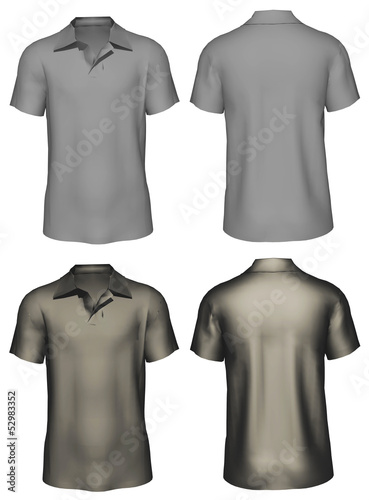 3d Men's t-shirt design template : front, back