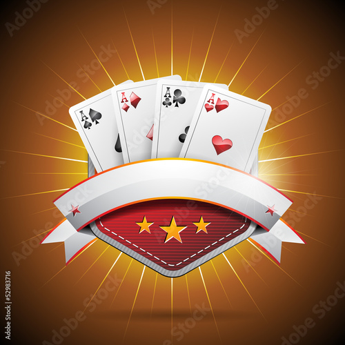 Vector illustration on a casino theme with poker card