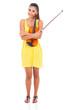 pretty woman holding a violin
