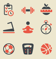 Fitness black and red icon set