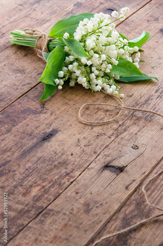Flowers on brown wooden backgrond