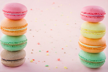 Piles of colorful macaroons