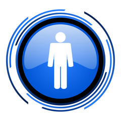 man circle blue glossy icon