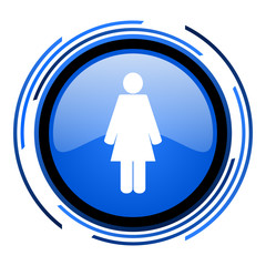 woman circle blue glossy icon