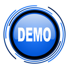demo circle blue glossy icon