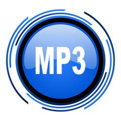 mp3 circle blue glossy icon