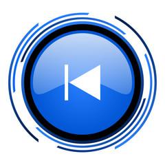 prev circle blue glossy icon