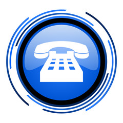 phone circle blue glossy icon