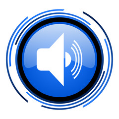 volume circle blue glossy icon