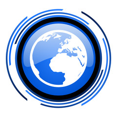 earth circle blue glossy icon