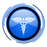 caduceus circle blue glossy icon