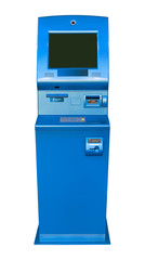 Blue ATM / cash machine, isolated on white background