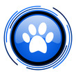 animal footprint circle blue glossy icon