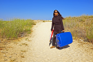 Woman travelling to her holiday destinatination
