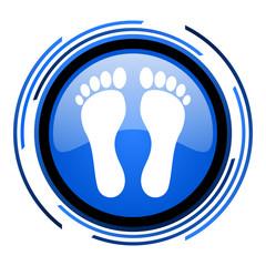 footprint circle blue glossy icon