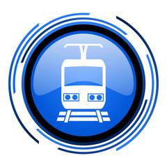 train circle blue glossy icon